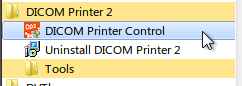 Accessing DICOM Printer 2 control from the start menu