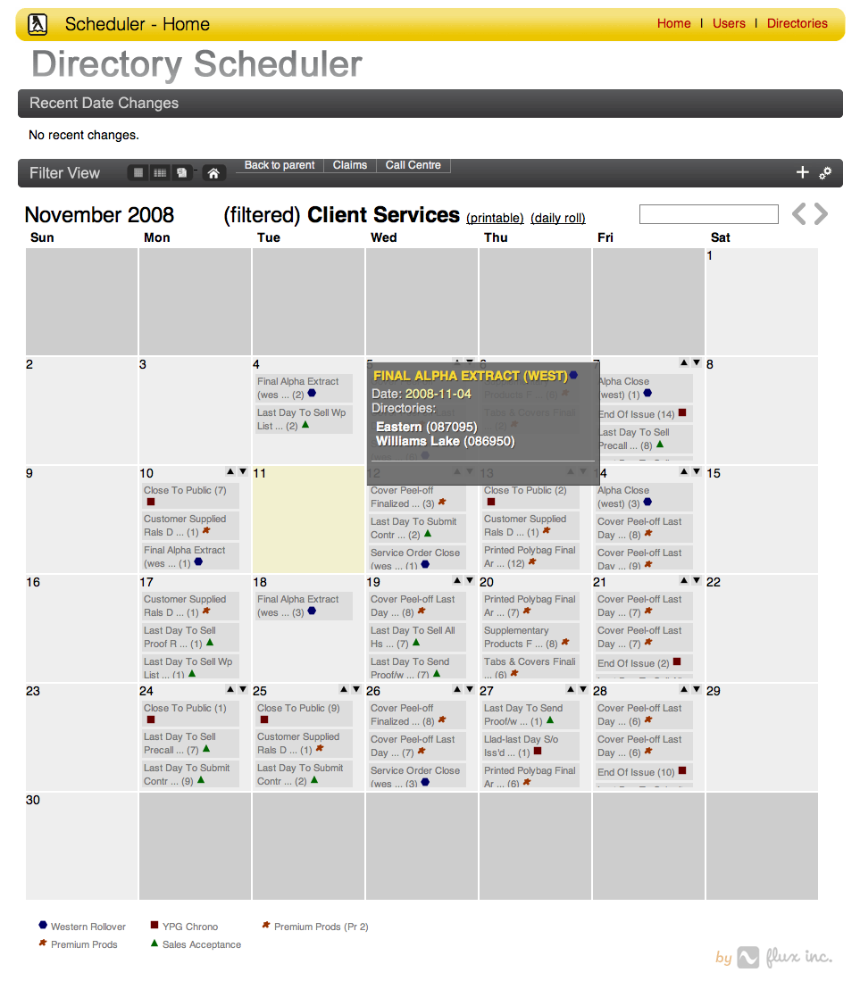 Yellow Pages manufacturing scheduler calendar view.