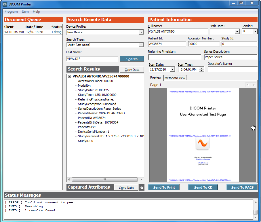 DICOM Printer Main Form Screenshot