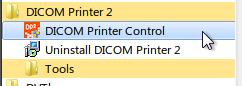 Accessing DICOM Printer Control via the start menu
