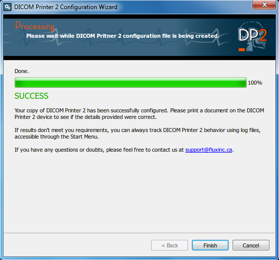 DICOM Printer 2 Wizard end