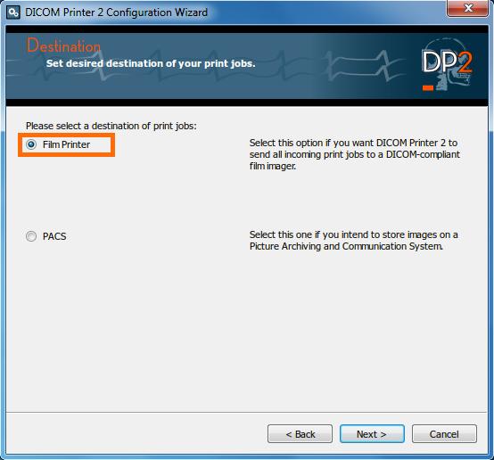 DICOM Printer Configuration Wizard screen 1