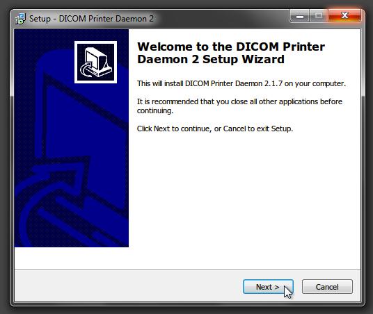 DICOM Printer 2 setup start