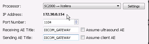 Gateway connection parameters