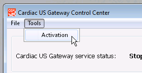 Accessing the activation menu