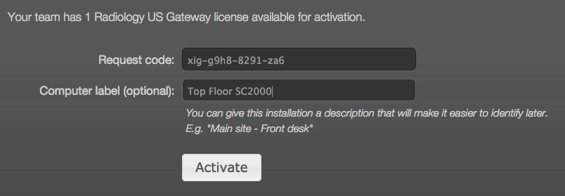 Store activation request