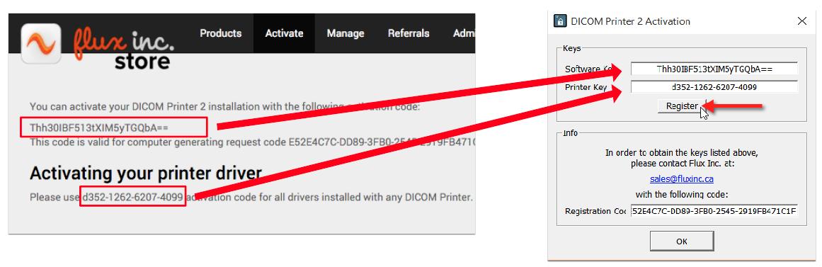 Copy activation codes