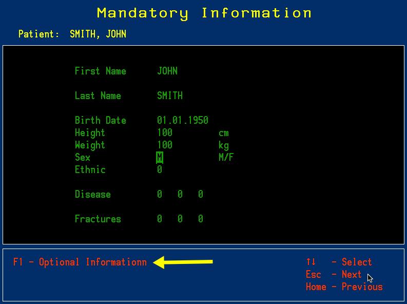 Mandatory patient information