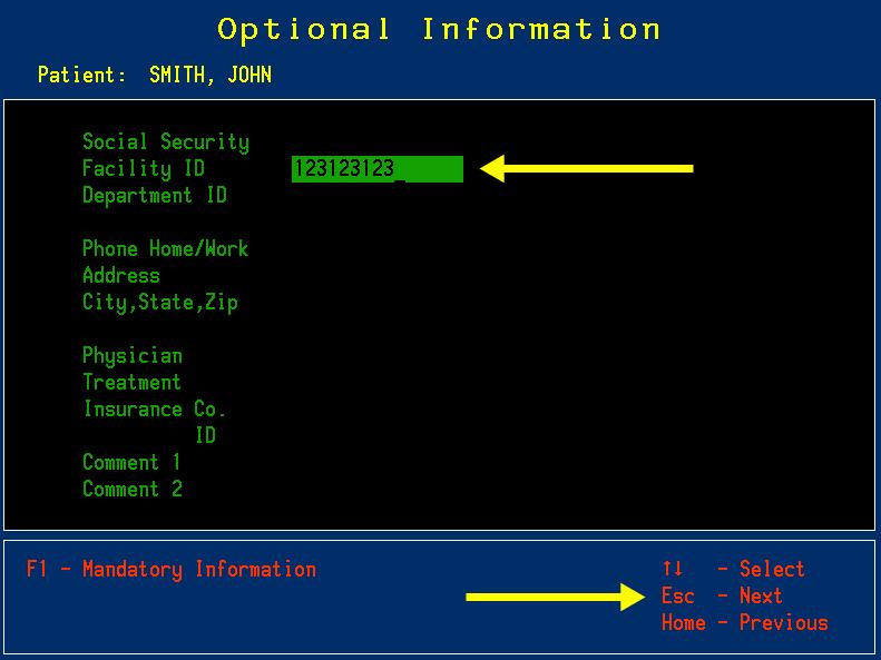 Optional patient information